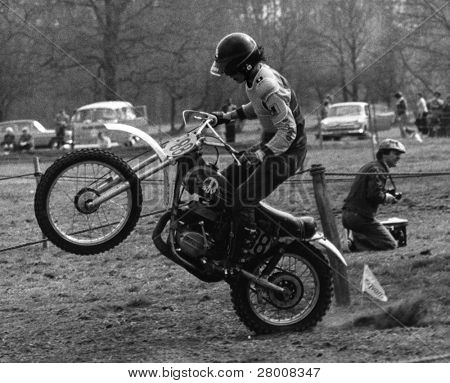 CRAWLEY, ENGLAND - APRIL 18: A competitor takes place in a motor cycle scramble race on April 18, 1976 in Crawley, Sussex.