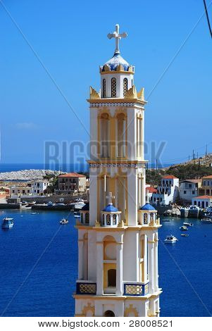 The bell tower of the Agios Nikolaos church at Emborio on the Greek island of Halki. The tower is the tallest in the Dodecanese islands.