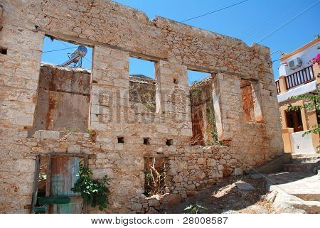 An old ruined stone building at Emborio on the Greek island of Halki.