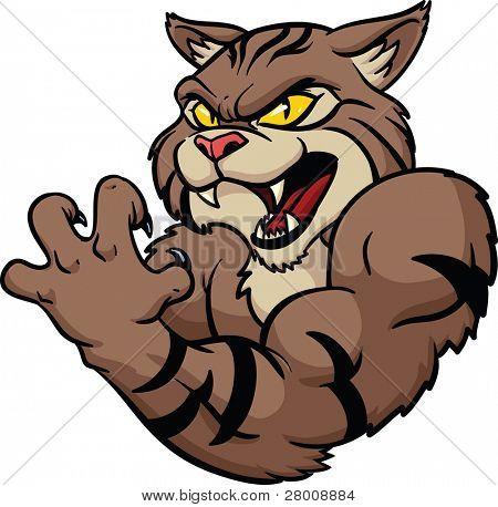 Mascota gato montés aspecto feroz. Ilustración del vector. Todo en una sola capa.