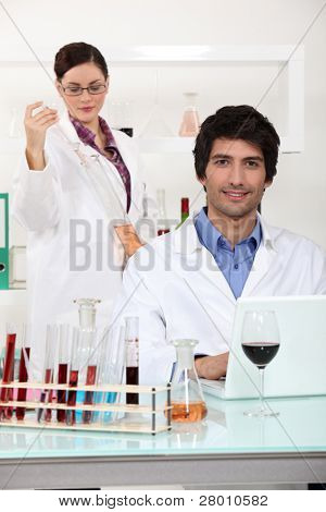 wine expert in a lab