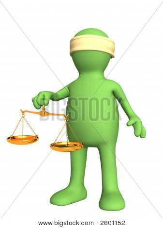 3D Person With The Fastened Eyes, Holding Scales