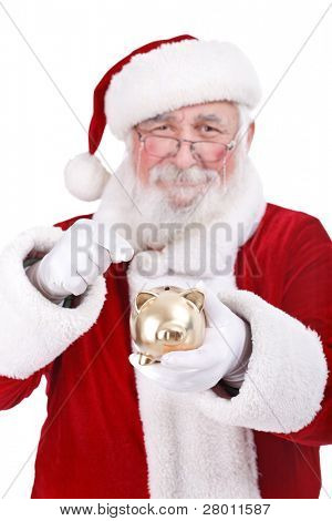authentic Santa Claus pointing gold piggy bank, Christmas saving,  isolated on white background