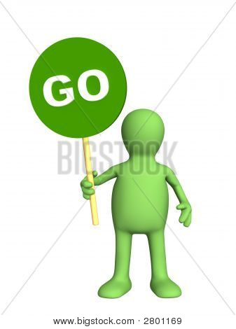 3D Person - Puppet,  Holding In A Hand Sign Go