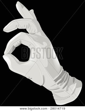 The hand white glove okay