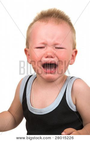 crying unhappy baby  isolated on the white background