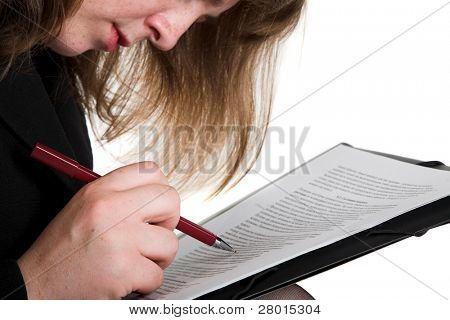 woman's hand, pen and document isolated on the white background