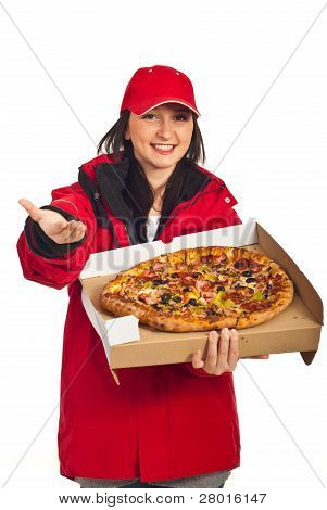 Delivery Pizza Woman With Open Hand