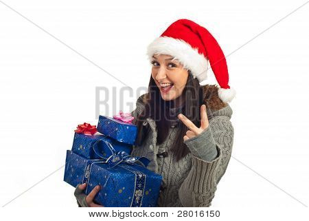 Happy Christmas Woman Showing Victory Sign