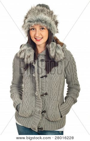 Beauty Model Woman In Winter Clothes