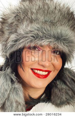 Closeup Of Beauty Woman In Fur Hat