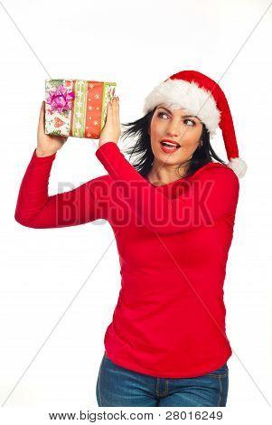 Happy Amazed Woman With Xmas Gift