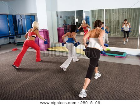 Fitness. Young caucasian women in the gym