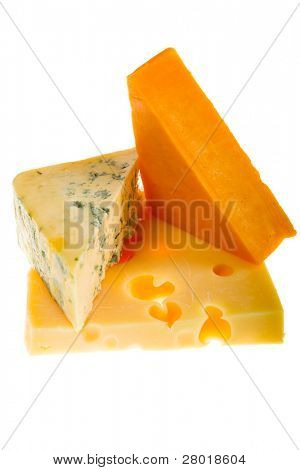 varied cheese isolated on white