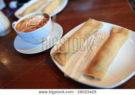 Two Pancakes And Cappuccino
