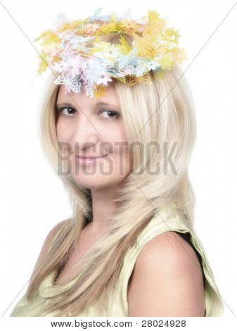 Young beauty portrait with pastel shades, isolated