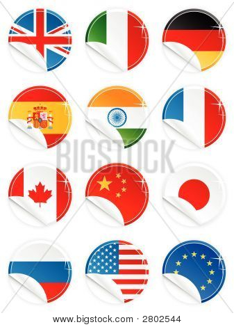 Glossy Button Icon Sticker National Flag Set