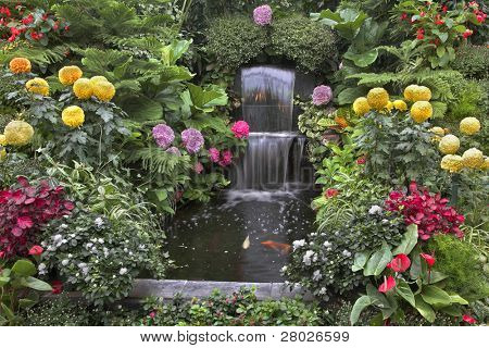 Gold small fishes and magnificent flower beds in a two-cascade falls in well-known Butchart Gardens