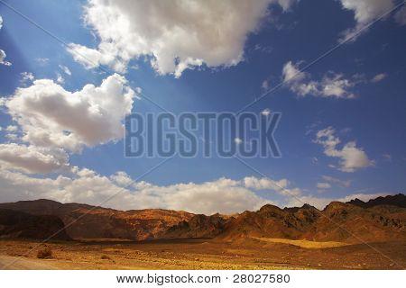 Multi-colored hills from sandstone in desert Sinai