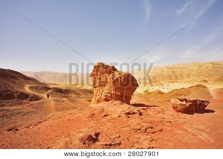 "The lonely tourist in red desert near to huge ""mushroom"" from sandstone"