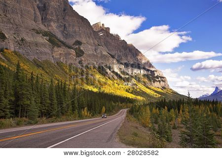 Highway in the north of Canada in mountains