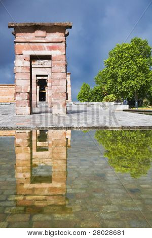The ancient Egyptian temple Debod established in the center of Madrid