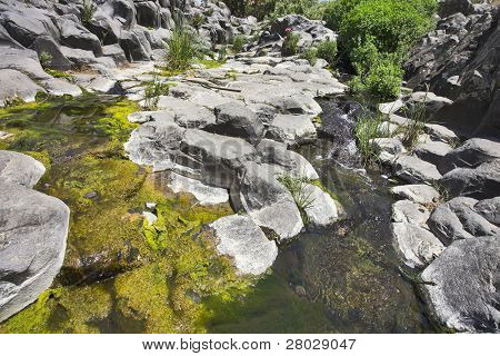 Canyon with cut basalt walls and a stream with green ooze