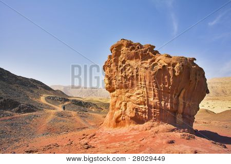"Freakish figures from red sandstone in desert ""Arava"" in Israel"