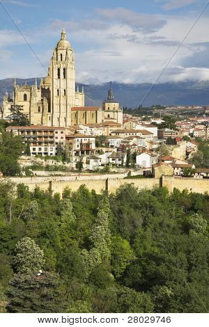 The ancient city of Segovia in solar May day