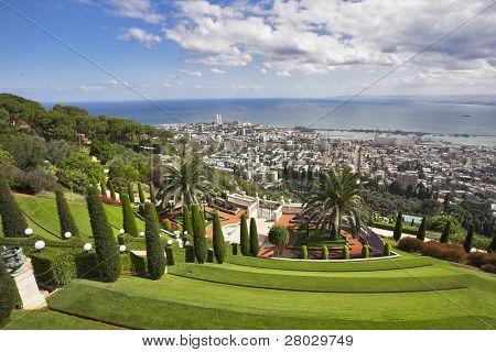 Grandiose magnificent landscape - Bahai gardens, Haifa and Mediterranean sea