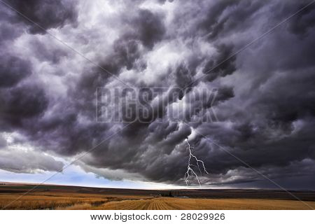 The thundercloud and lightning above boundless plain in state of  Idaho.