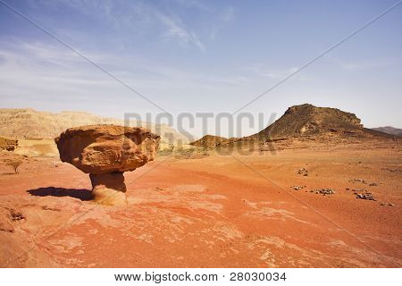 "Huge rock from red sandstone in the form ""mushroom"" in the heated desert"