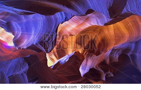 "Shone orange and violet colors a canyon of ""Antelope"" in the USA in a bright sunny day"