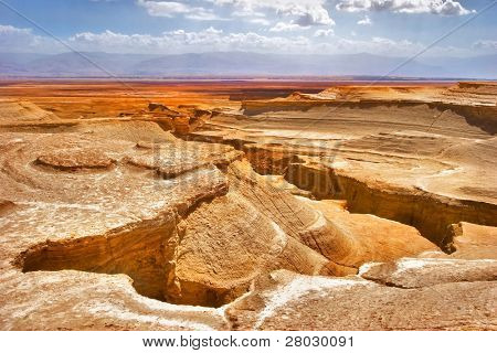 Picturesque ancient mountains and canyons about the Dead Sea in Israel