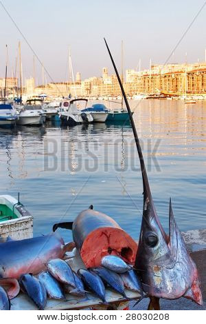 A morning fish market in Marseilles to port