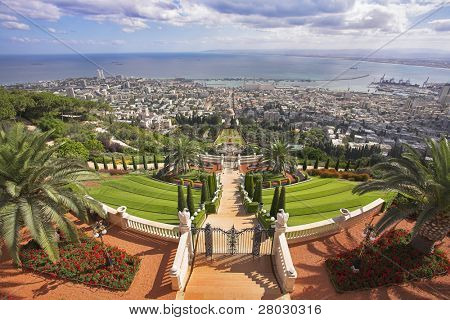 Grandiose solemn landscape - Bahai sacred places, Haifa and Mediterranean sea