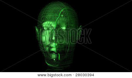 Human Head with Techo Texture