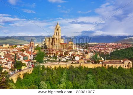 The ancient city of Segovia in serene May day