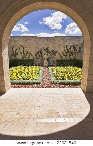 Part the Majestic architectural ensemble in Bahai gardens of the city of Akko: marble pavilion and wall