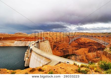 The bridge and a dam on the river Colorado in the USA