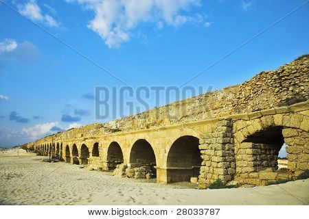 The aqueduct of the Roman period at coast of Mediterranean sea