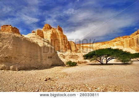 "Ancient mountains near to an oasis ""Ein-Bokek"" at coast of the Dead Sea"