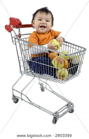 Baby Sitting In A Shopping Cart
