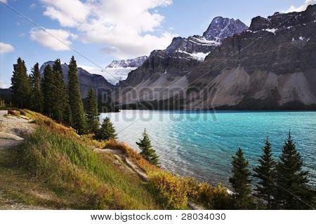 Footpath on coast of charming lake in Canada