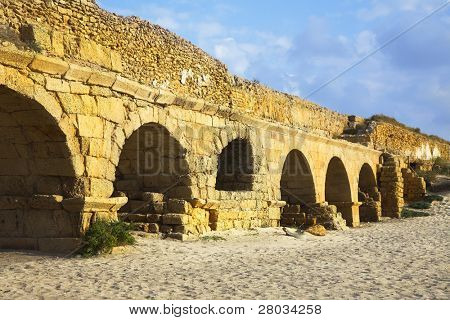 The aqueduct of the Roman period at coast of Mediterranean sea in Israel