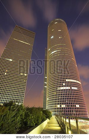 Magnificent high-altitude buildings in business part Tel-Aviv on a sunset