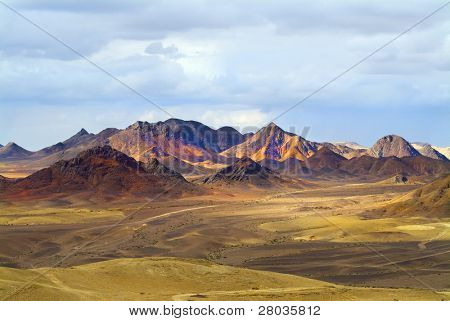 Magnificent landscape. Desert Sinai in the beginning of winter