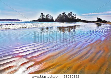 Ocean outflow on an enormous beach of island Vancouver in Canada