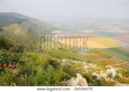 Picturesque valley in the Israeli Galilee. A spring landscape