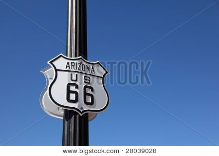 The traffic sign strengthened on a metal column, Historic route 66